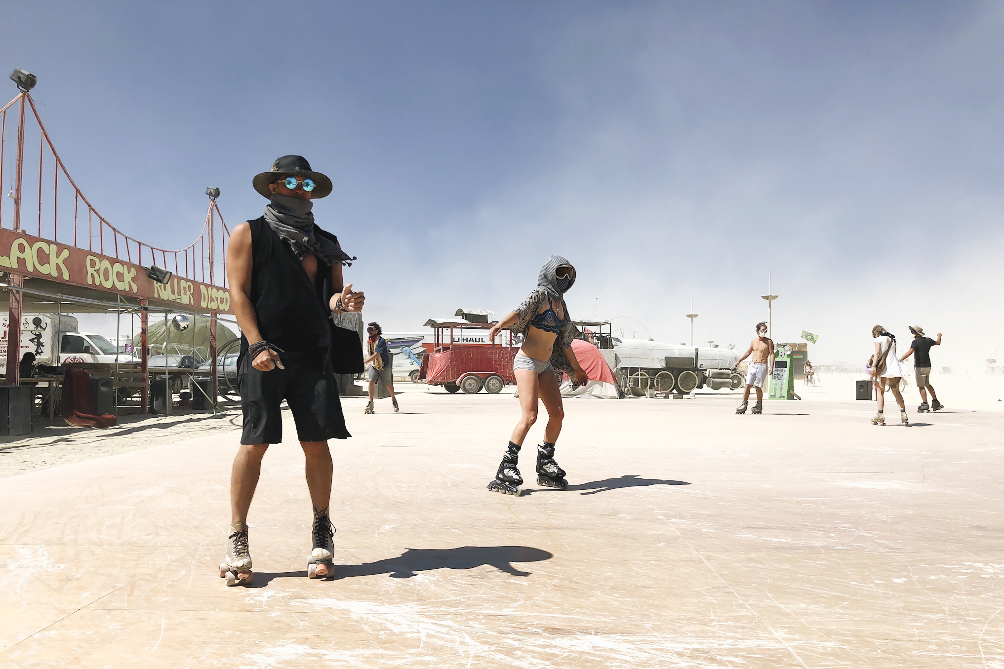 Roller skating on the Playa