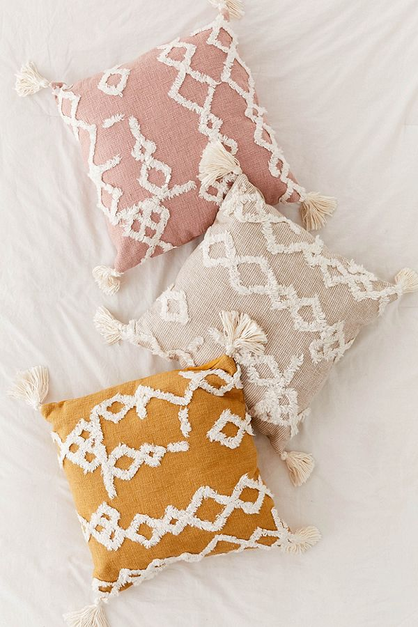 Geo Tufted Tassel Throw Pillow, $49 each