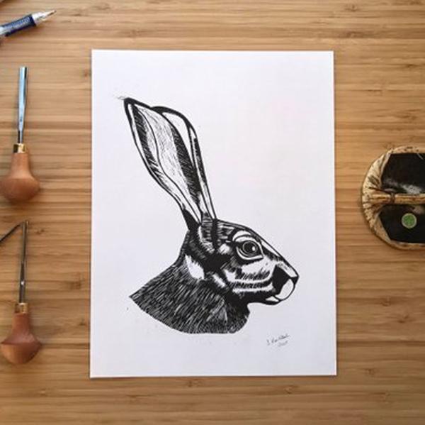 Handprinted Linocut, $25 - $35