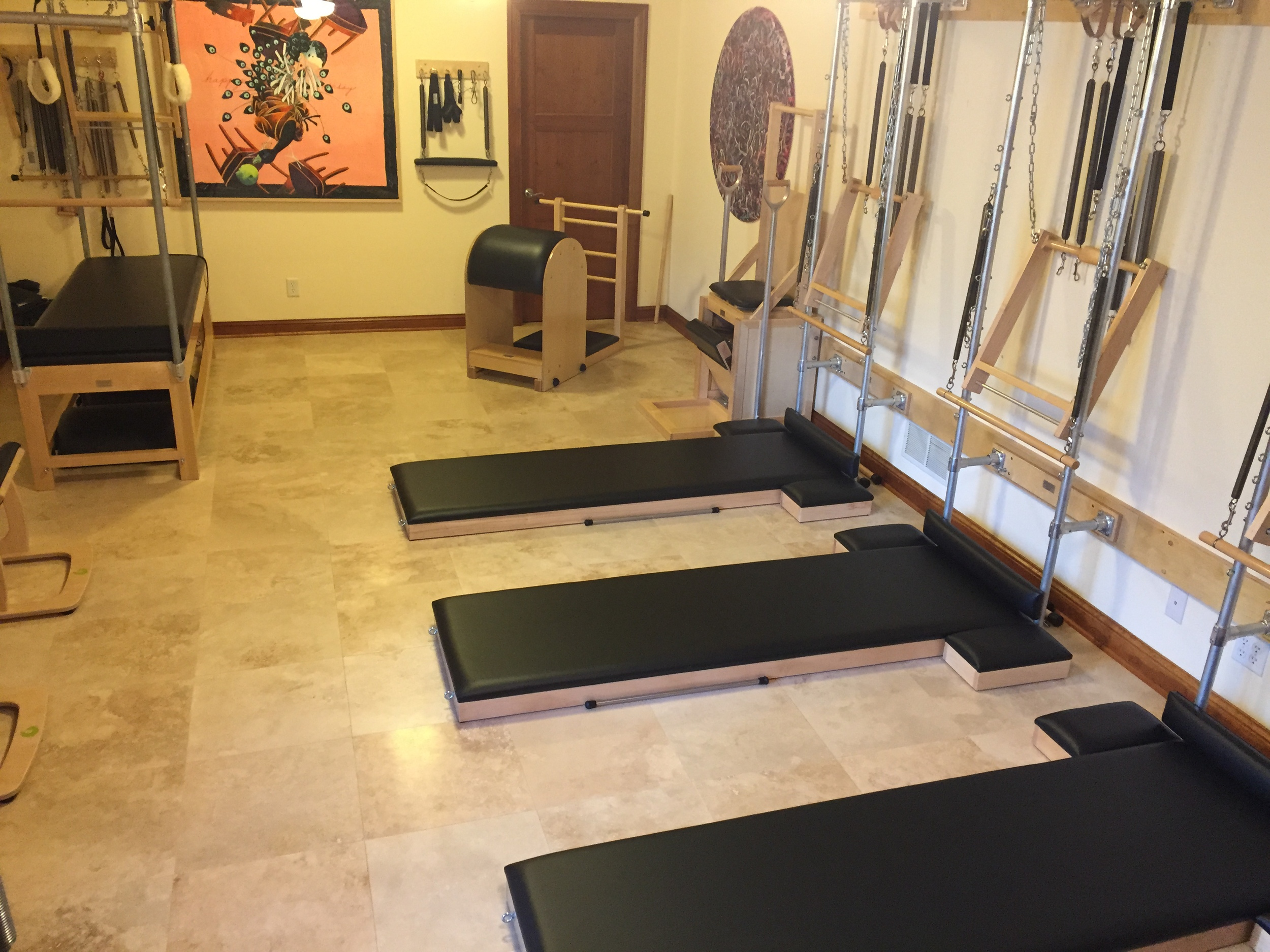 Towers, springs and mats in studio