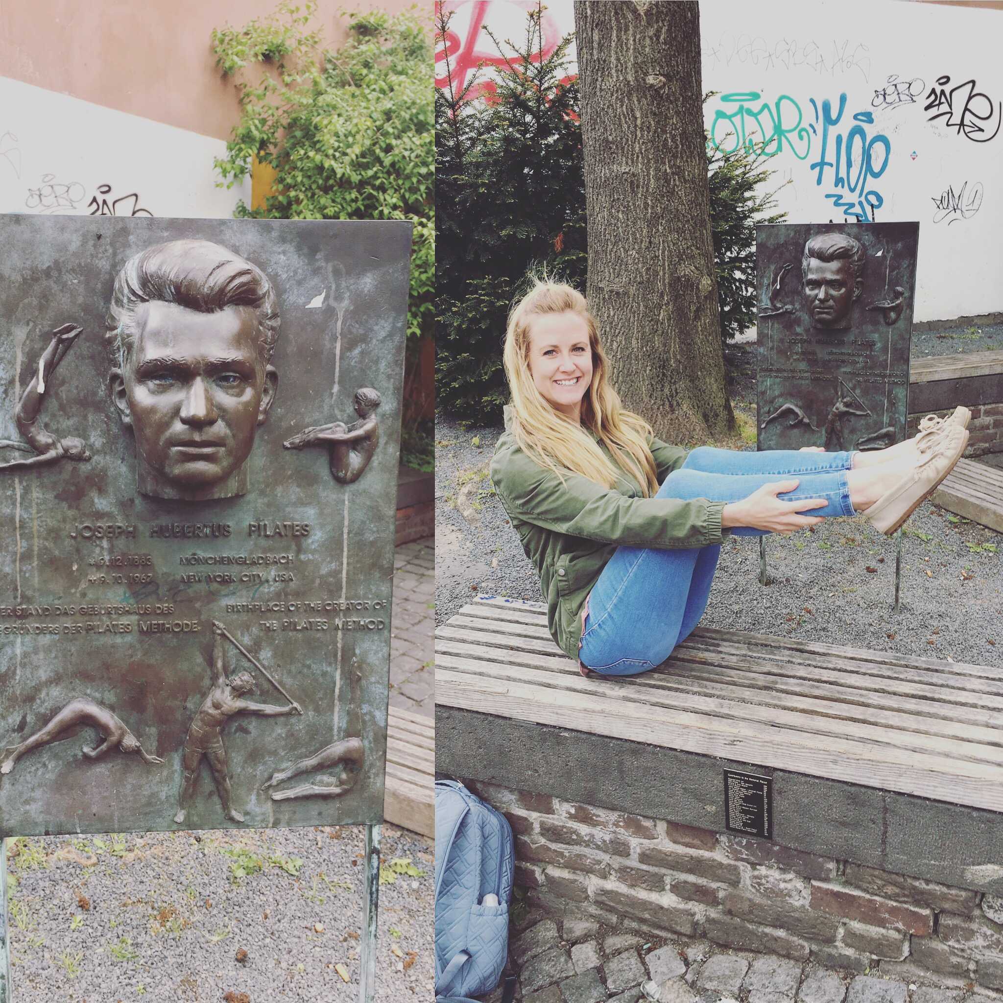 Katie in front of the joseph pilates plaque in Mönchengladbach, Germany. Joseph pilates home was located here and now a plaque and bench are here for his many followers to find.