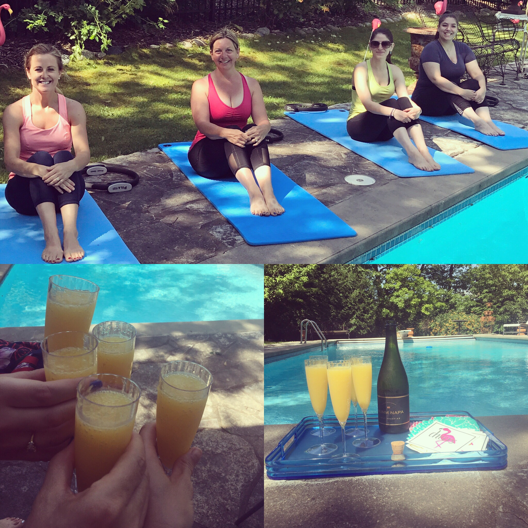 cheers to summer mat class by the pool at mogo pilates!