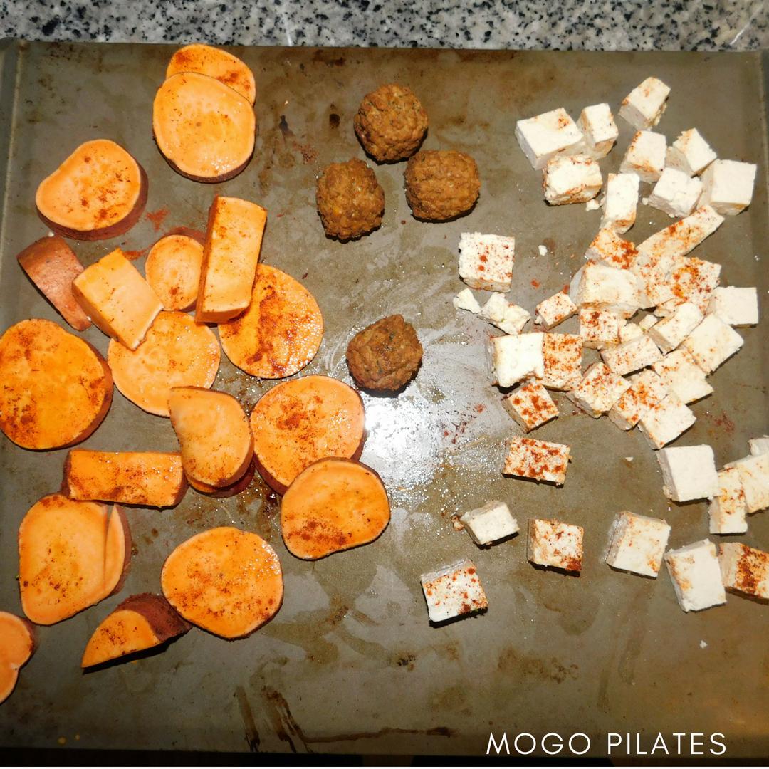 Roasted sweet potatoes and tofu make for a great Buddah Bowl base.