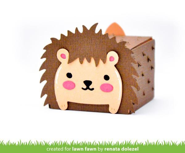 tiny gift box hedgehog add-on Lawn Fawn lawn cuts// Stanzschablone