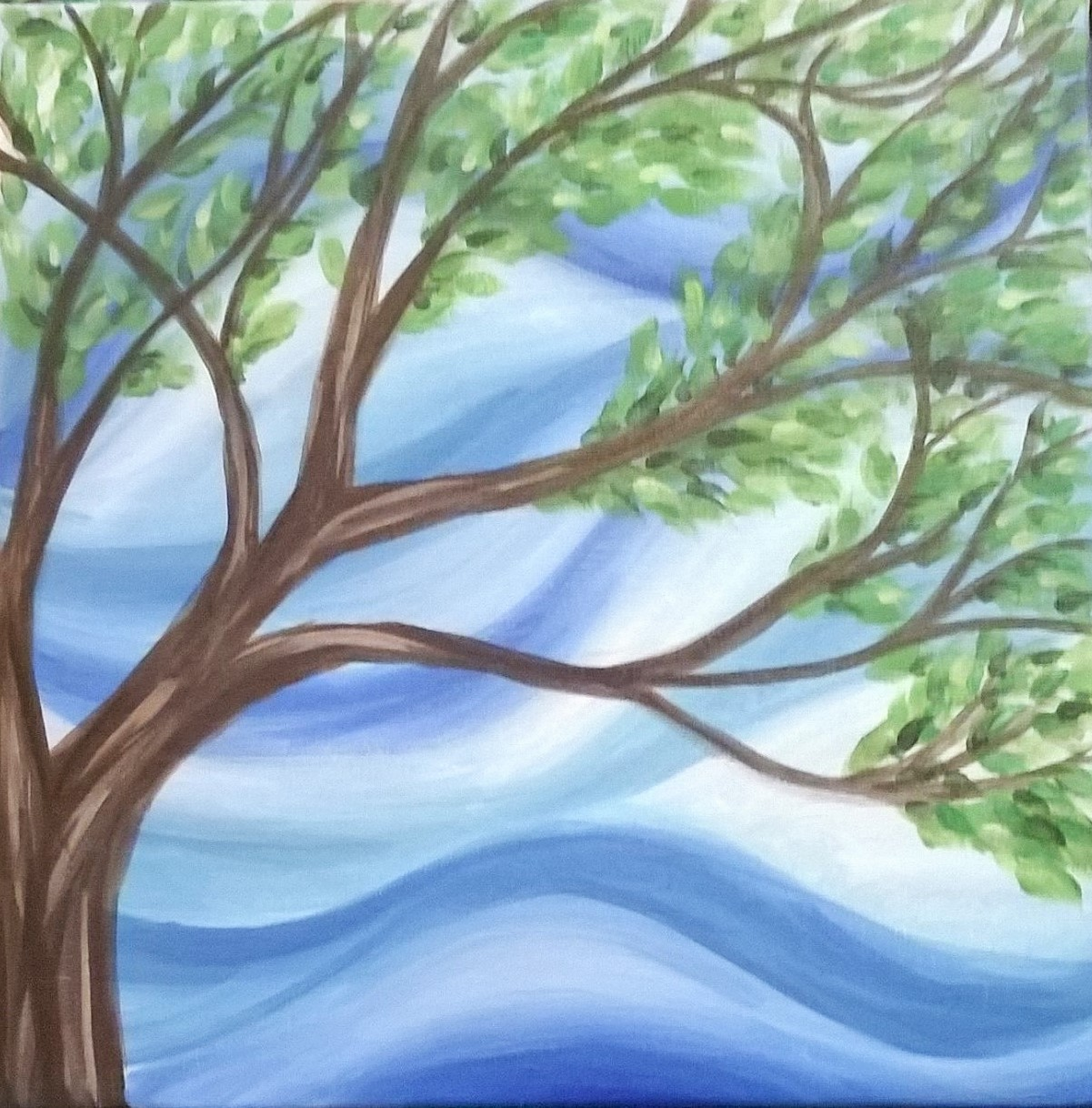 Figure 2: Second Tree painting. Acrylic on canvas. 12 x 12