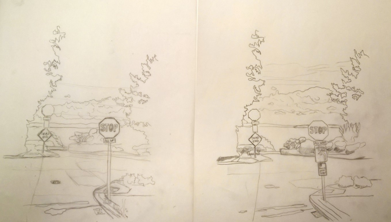 Figure 4: First sketch on the right, updated with detail on the left.