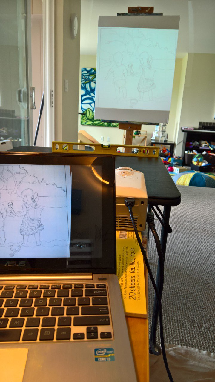 "Figure 2  : Laptop with photo of sketch projecting on canvas.      Original canvas for the project hanging on the wall behind, peeking into the photo as if to say, ""I'm still in this"""