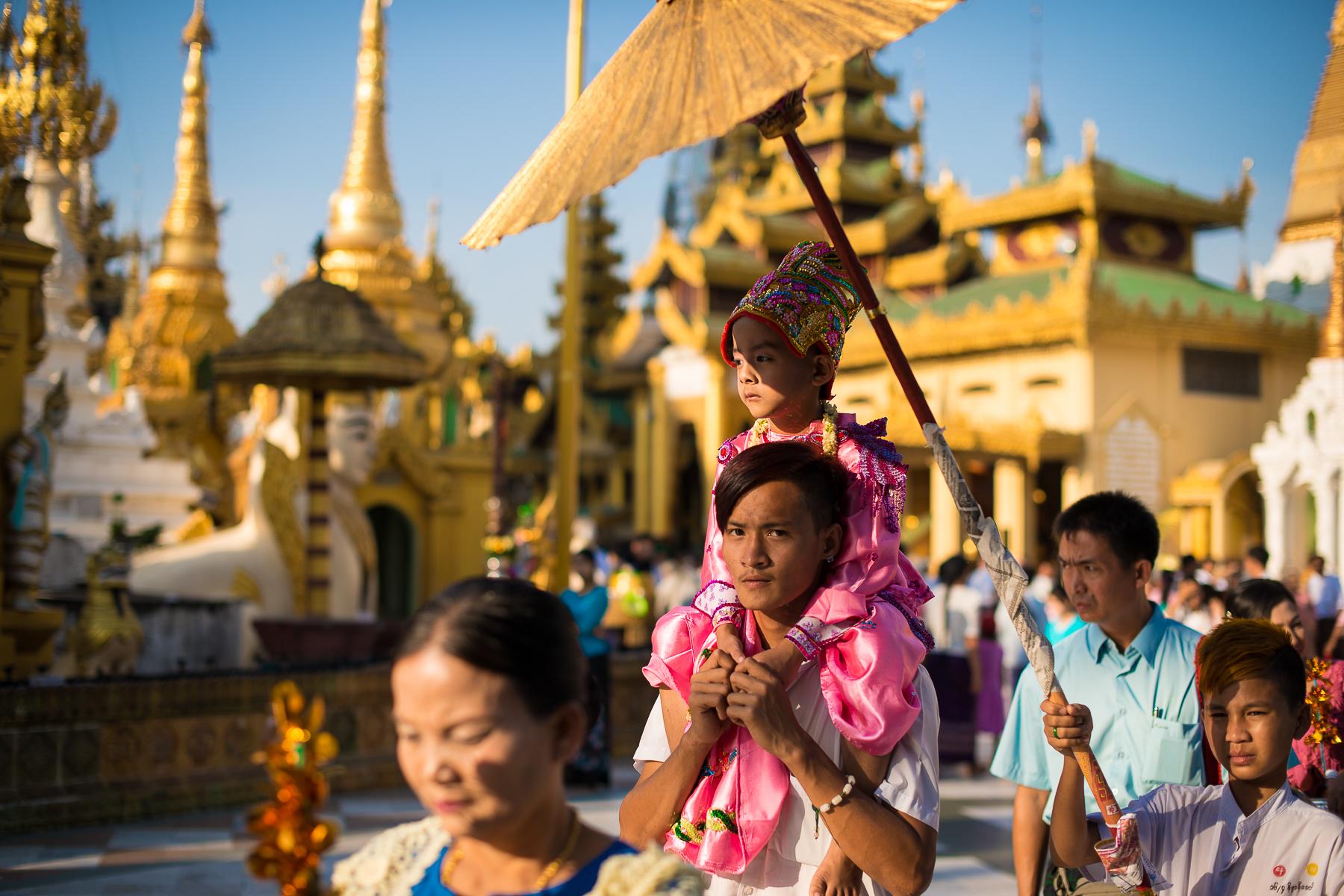 Ceremonial march at Shwedagon Pagoda. Yangon, Myanmar