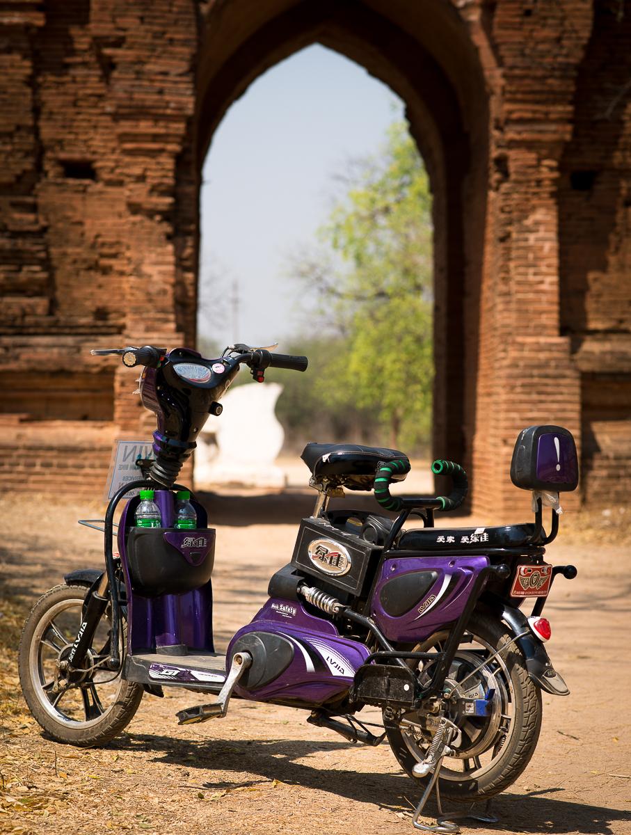 My sweet purple electric bike - Doris. Bangan, Myanmar