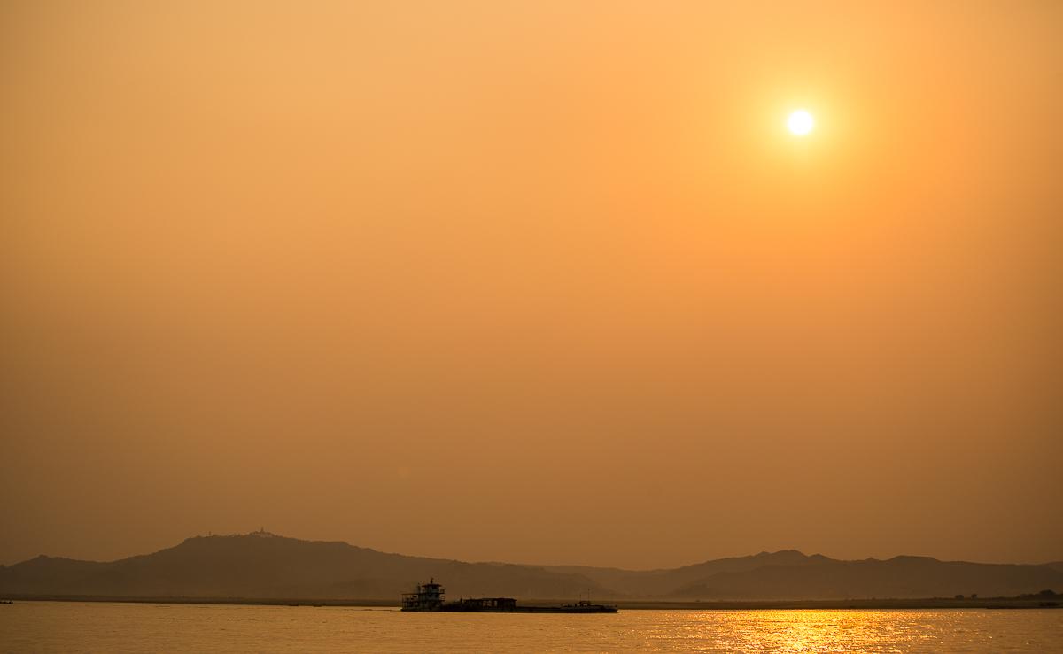 Ayeyarwaddy River at sunset. Bagan, Myanmar
