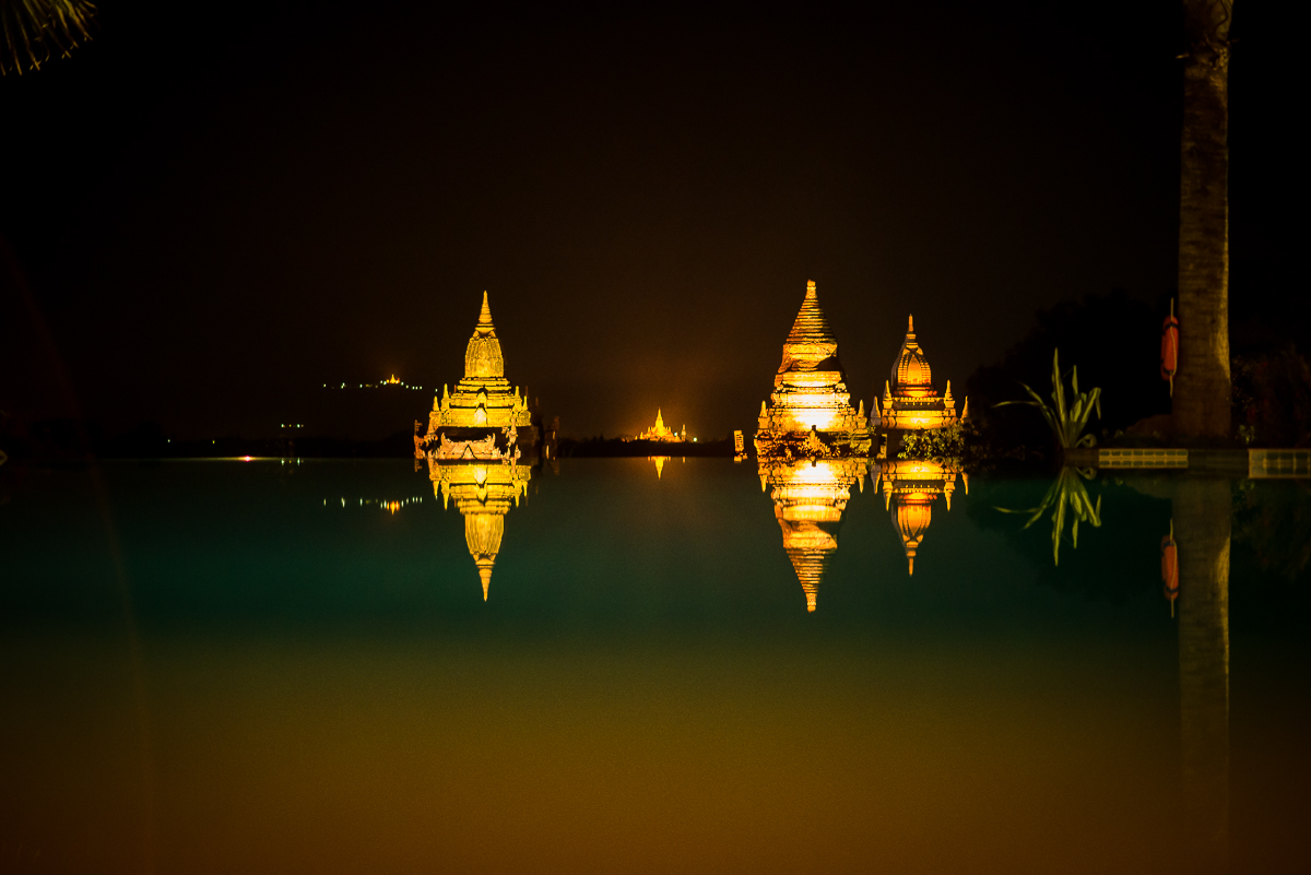 My view at dinner tonight. Temples reflected in the swimming pool. Aureum Palace Hotel. Bagan, Myanmar