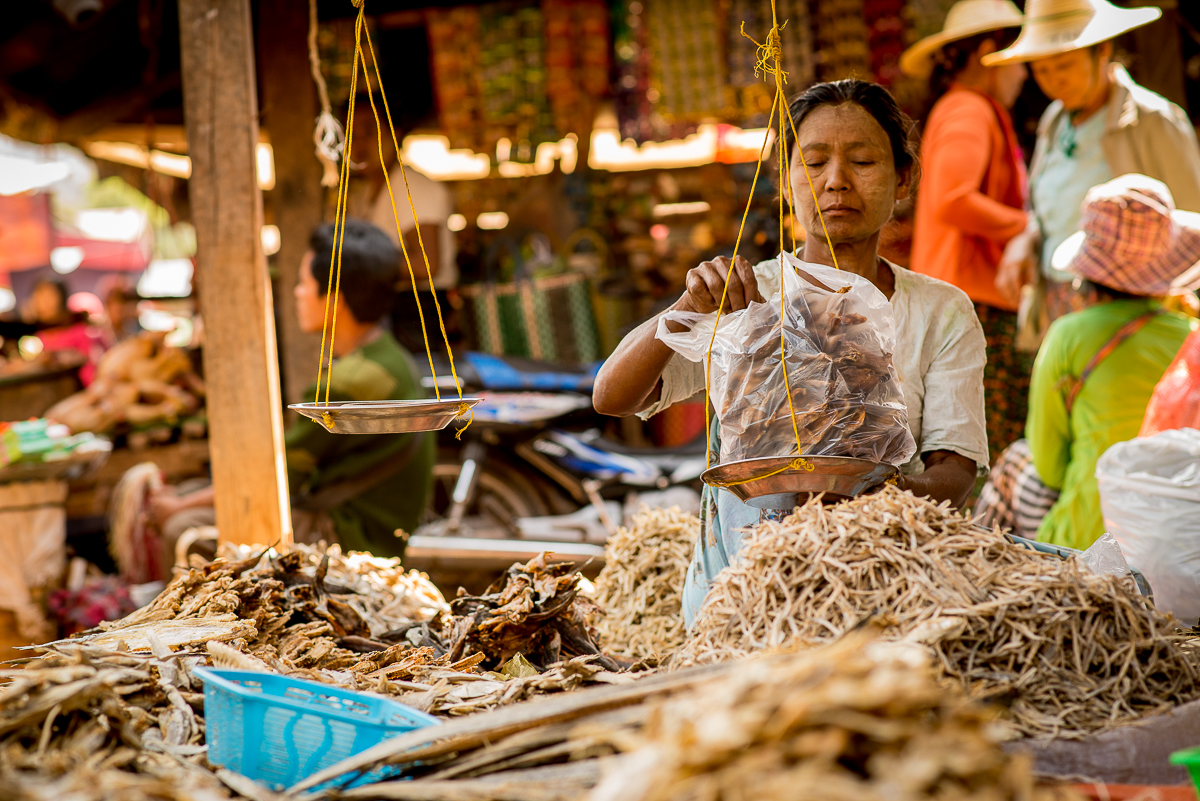 Dried fish for sale. Inle Lake, Myanmar