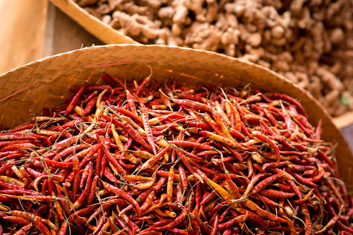 Dried chili peppers for sale. Inle Lake, Myanmar