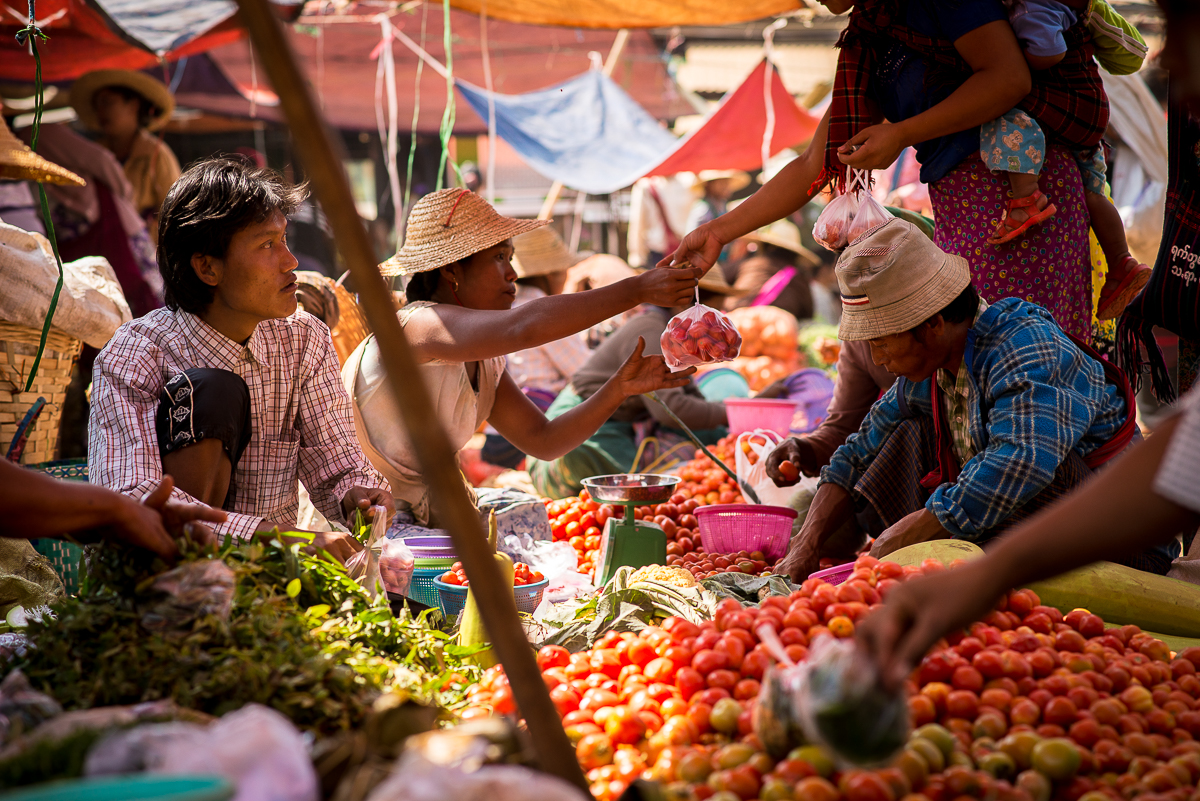 Tomatoes and other vegetables for sale. Inle Lake, Myanmar