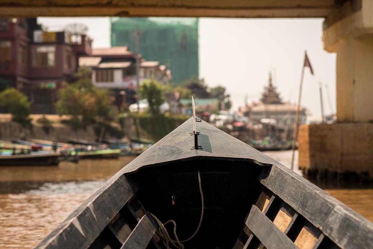 Boat to hotel. Inle Lake, Myanmar