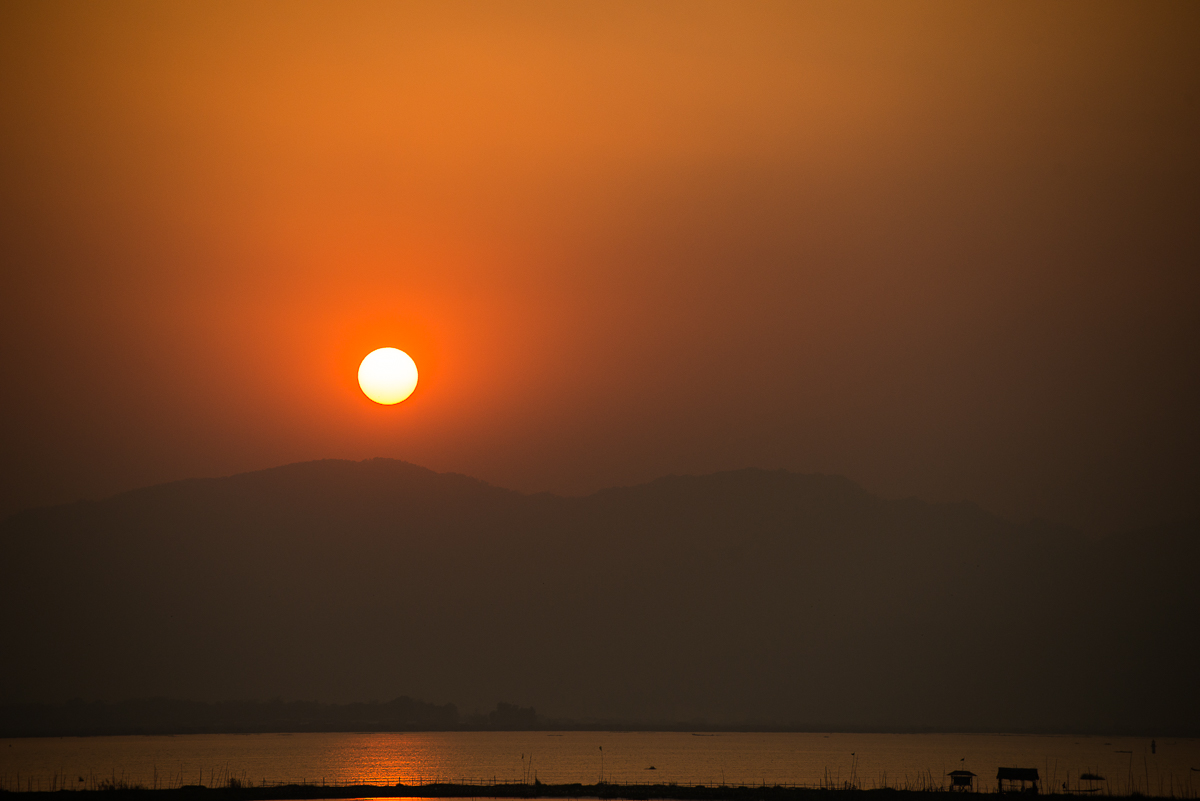 Sunset over Inle Lake, view from my hotel room. Inle Lake, Myanmar