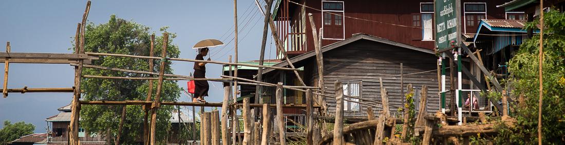 Bridge crossing. Inle Lake, Myanmar