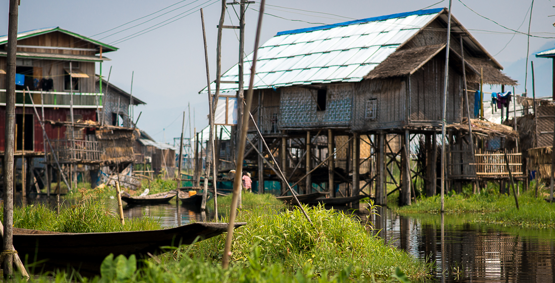 Typical houses on the lake in a small village. Inle Lake, Myanmar