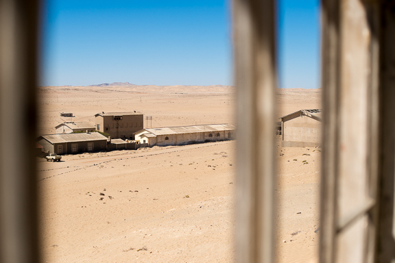 Some buildings at the ghost town of Kolmonskop.  Taken from the 2nd floor of the old Quartermasters house.