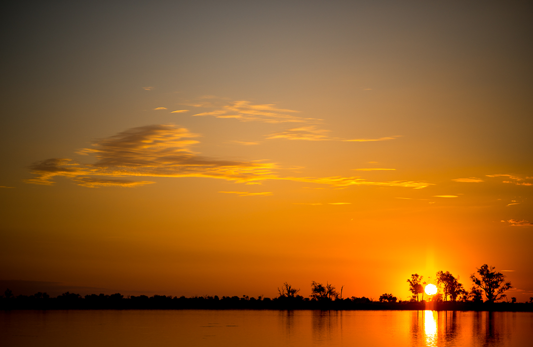 Final sunset in Africa on the delta