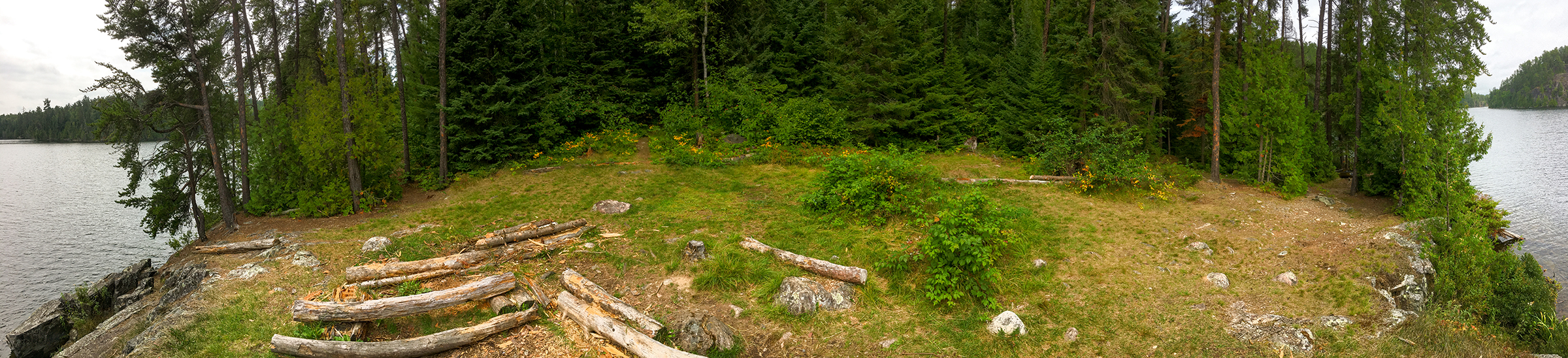 Panorama of our Cherry Lake campsite...