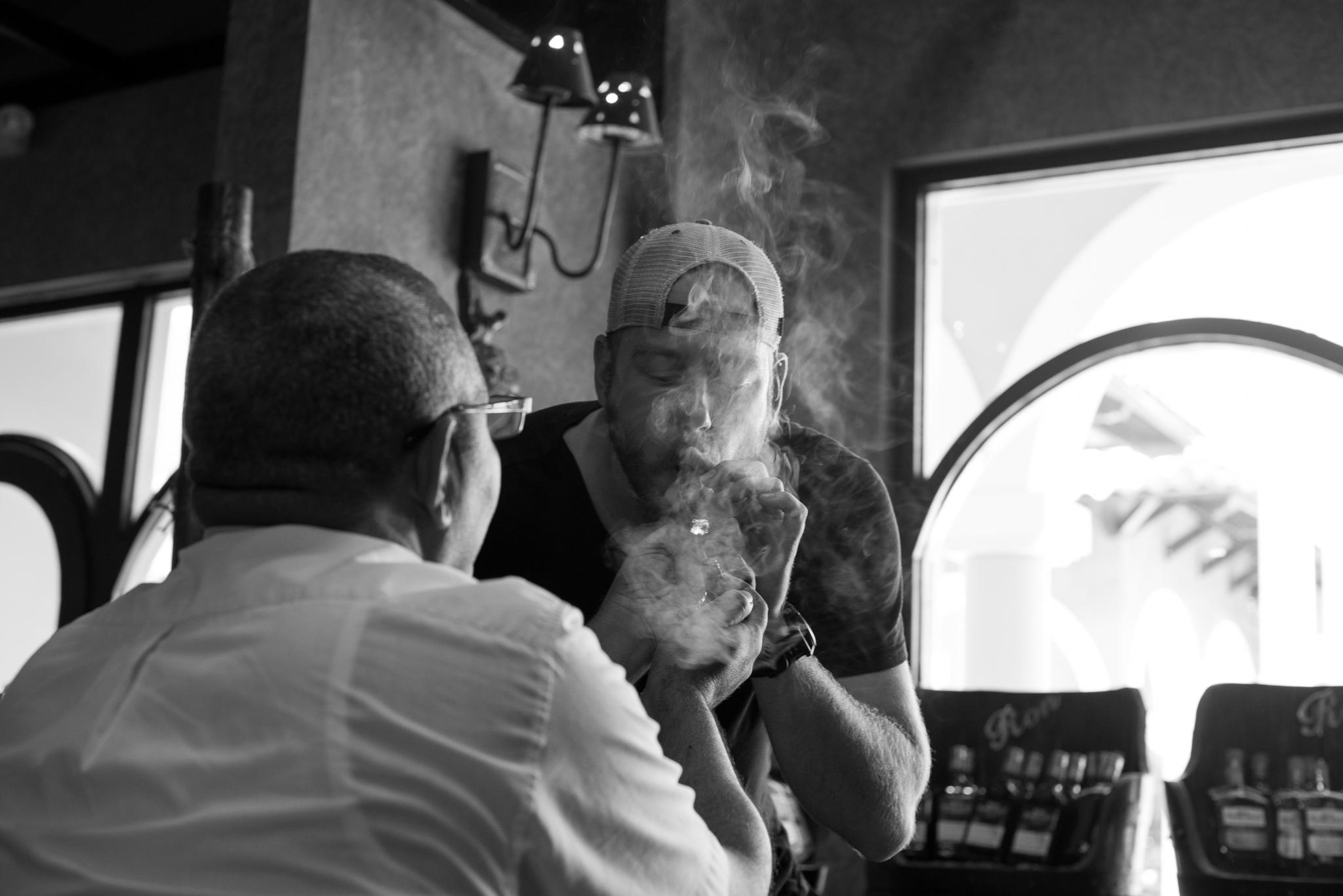 Ben Lighting Up A Fresh Cigar...
