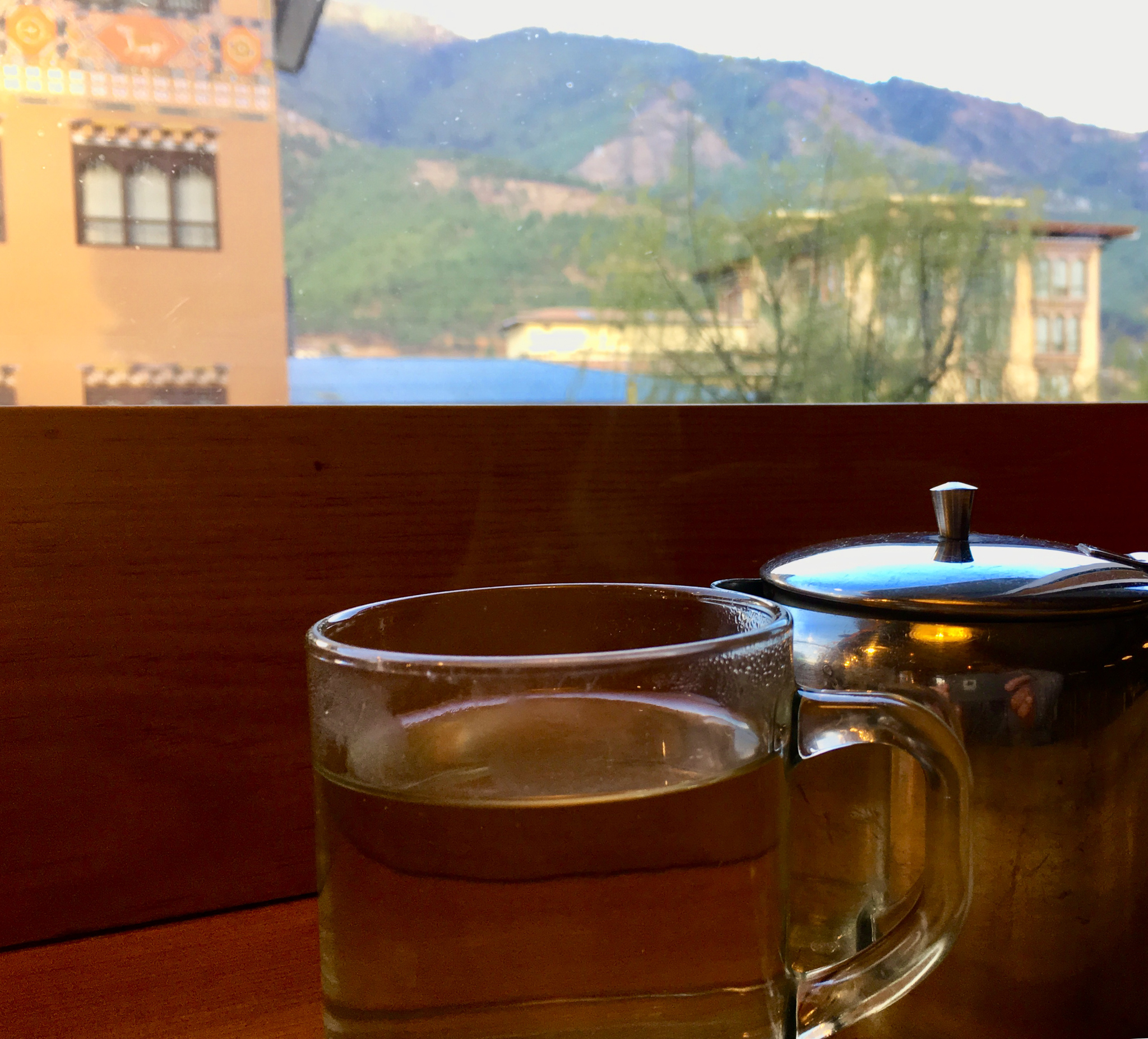 Having some tea while adjusting to the altitude.