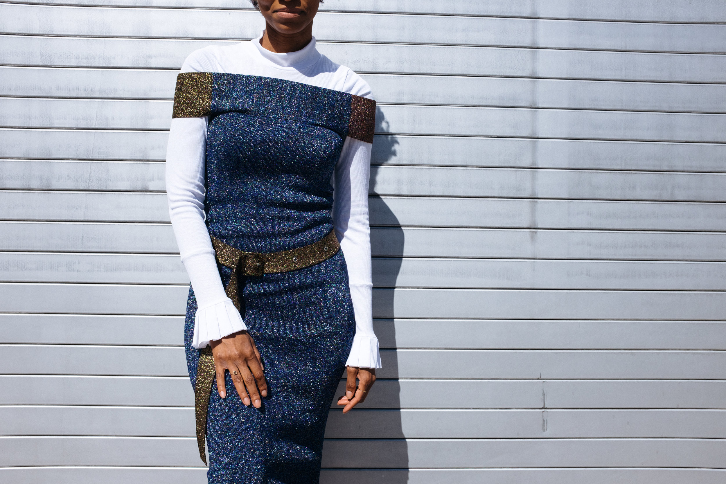 Christine_the_style_d'affaire_christopher_kein_collection_Spring_Summer_2017_runway_nyfw_off_the_shoulder_metallic_ribbed_knit_dress_Maggie_Marilyn_sweater_pleated_cuffs_mood.jpg