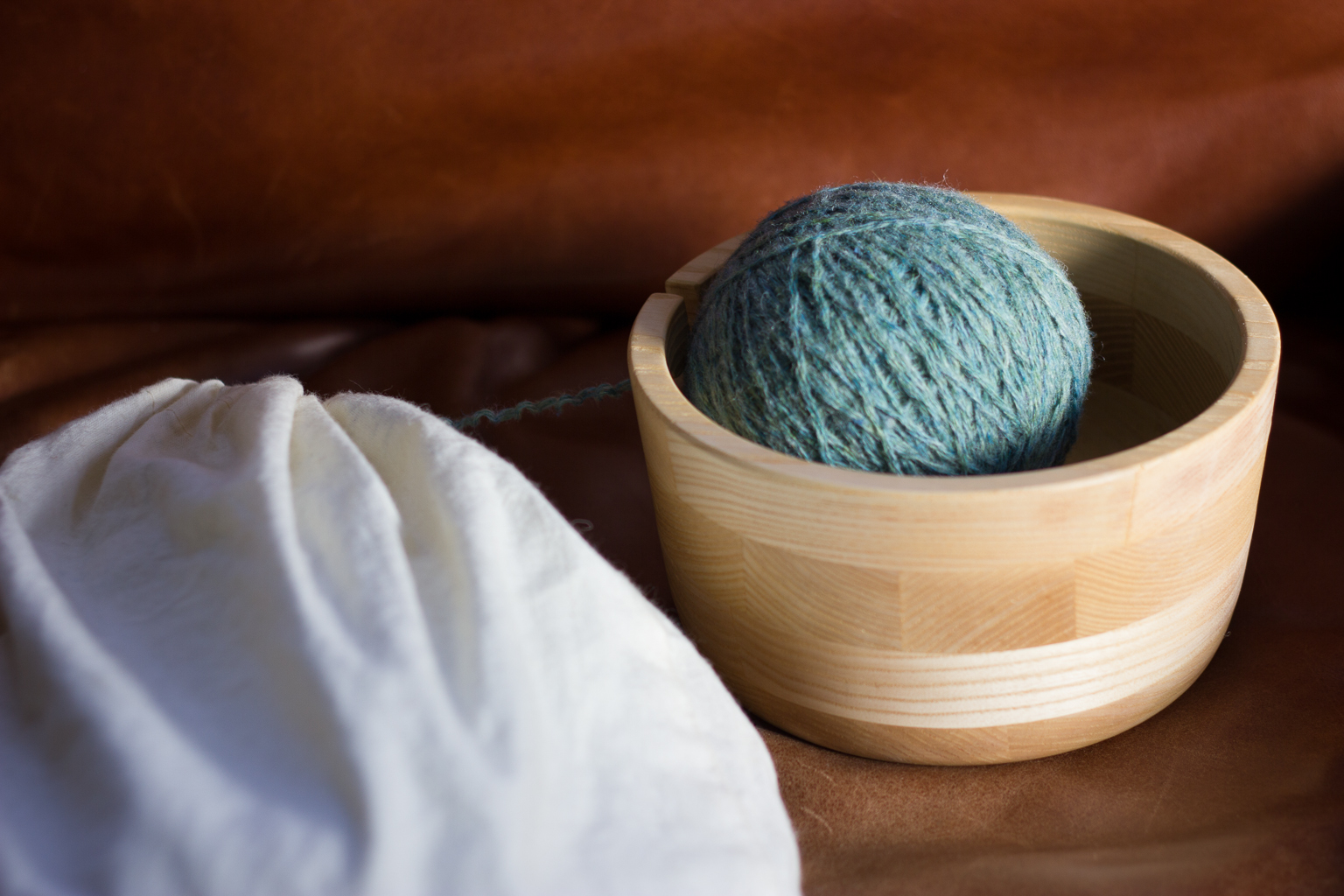 My yarn bowl: The perfect size at 6 by 2 3/4 inches.