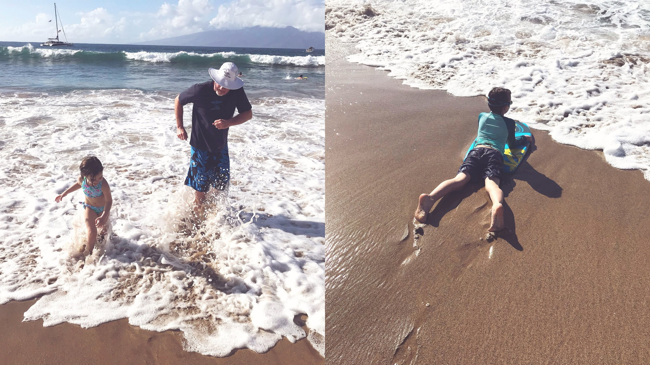 Playing on the beach with Paw in Kaanapali.