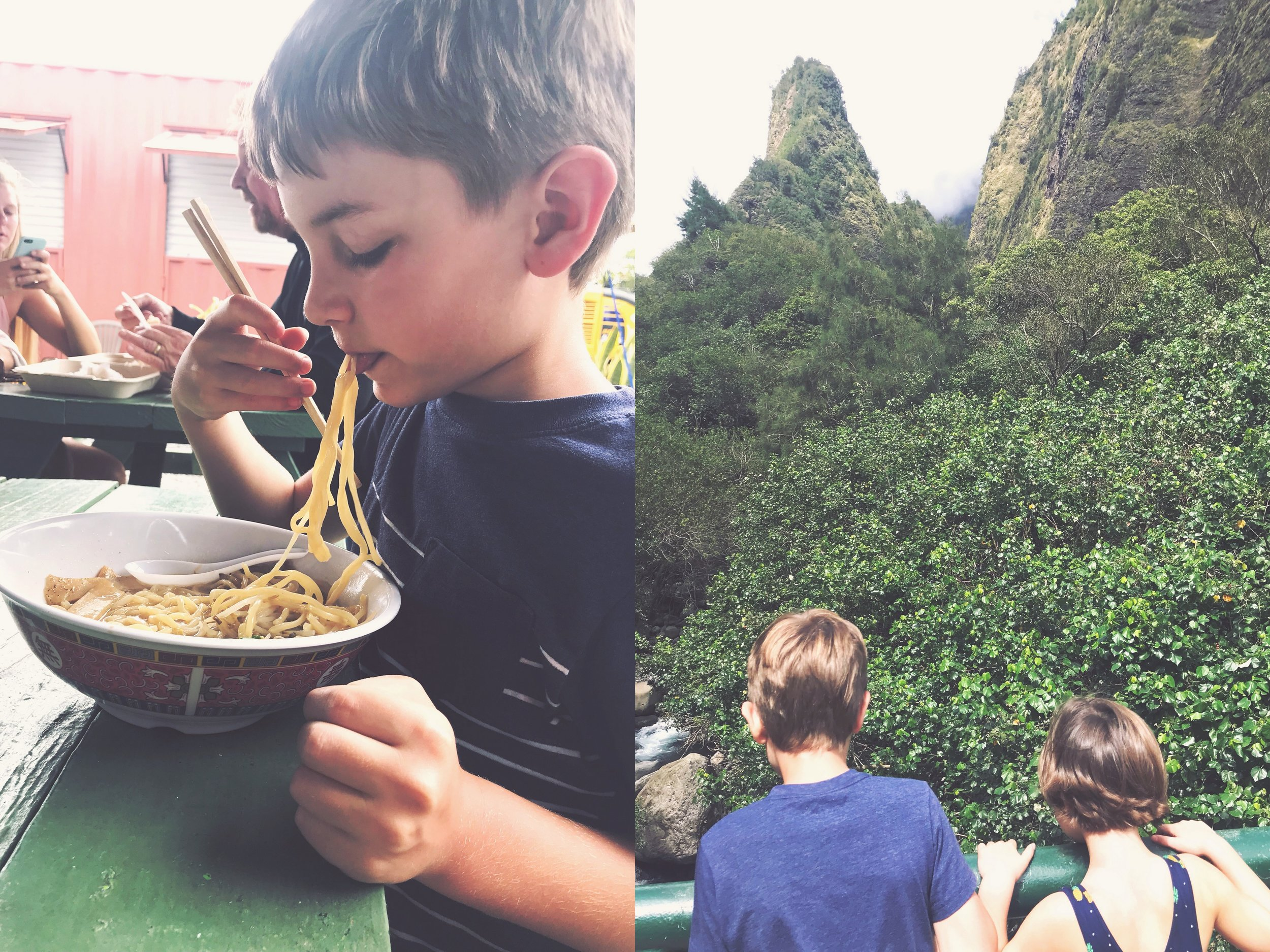Food truck ramen and the Iao Needle, both near Kahului.