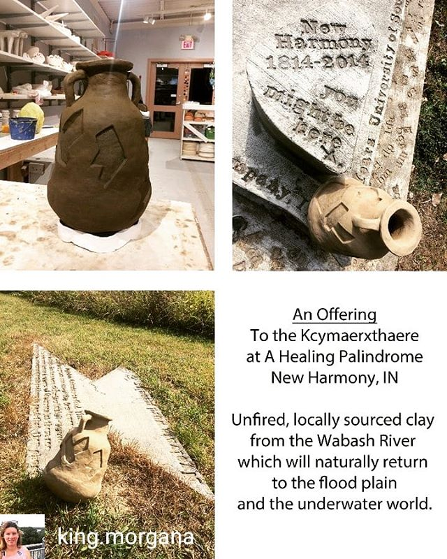 Our past resident artist @king.morgana sourced local, unfiltered clay from the Wabash River to create this piece inspired by the Kcymaerxthaere healing palindrome installation by @eamesdemetrios which is located behind our studio.