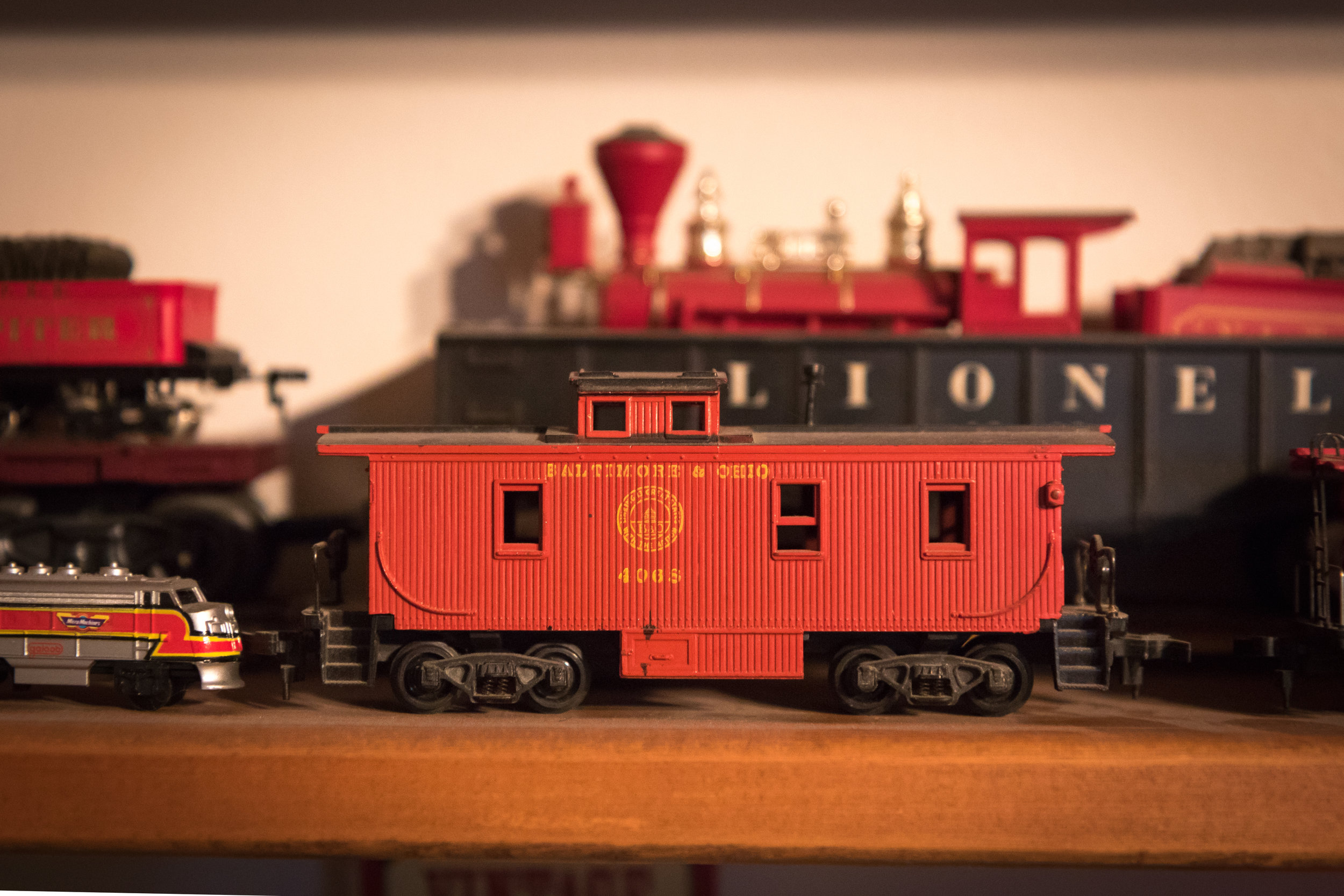 The first model train piece that Hall purchased as a young boy was a red caboose. His mother recommended that he start at the back and work forward.