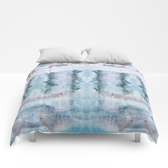 GROUNDSWELL textile design featured on a cozy comforter.