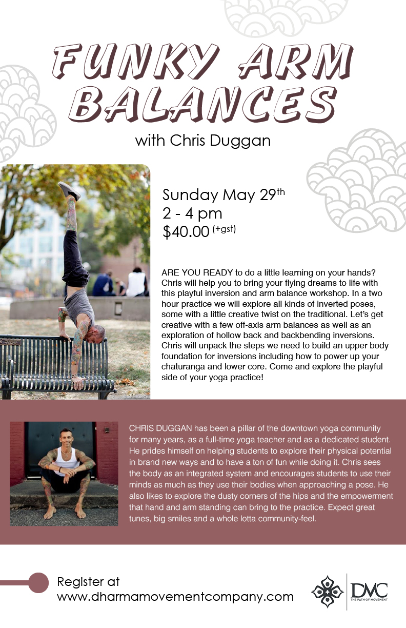 Poster:  Dharma Movement Company, Funky Arm Balances workshop