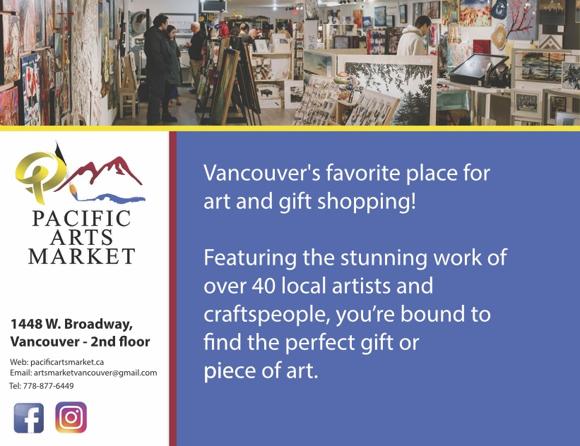 Pacific Arts Market showcases local talent with a huge variety of local artists: painters, potters, weavers, photographers, jewellers, leatherworkers, woodworkers, as well as makers of fine teas, soaps, candles, and even origami! Shoppers can expect to find unique and individual items that have been carefully made and displayed by the artist themselves.