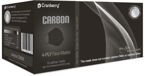 Cranberry Carbon 4 Ply Black ASTM Level 3 Procedure Masks