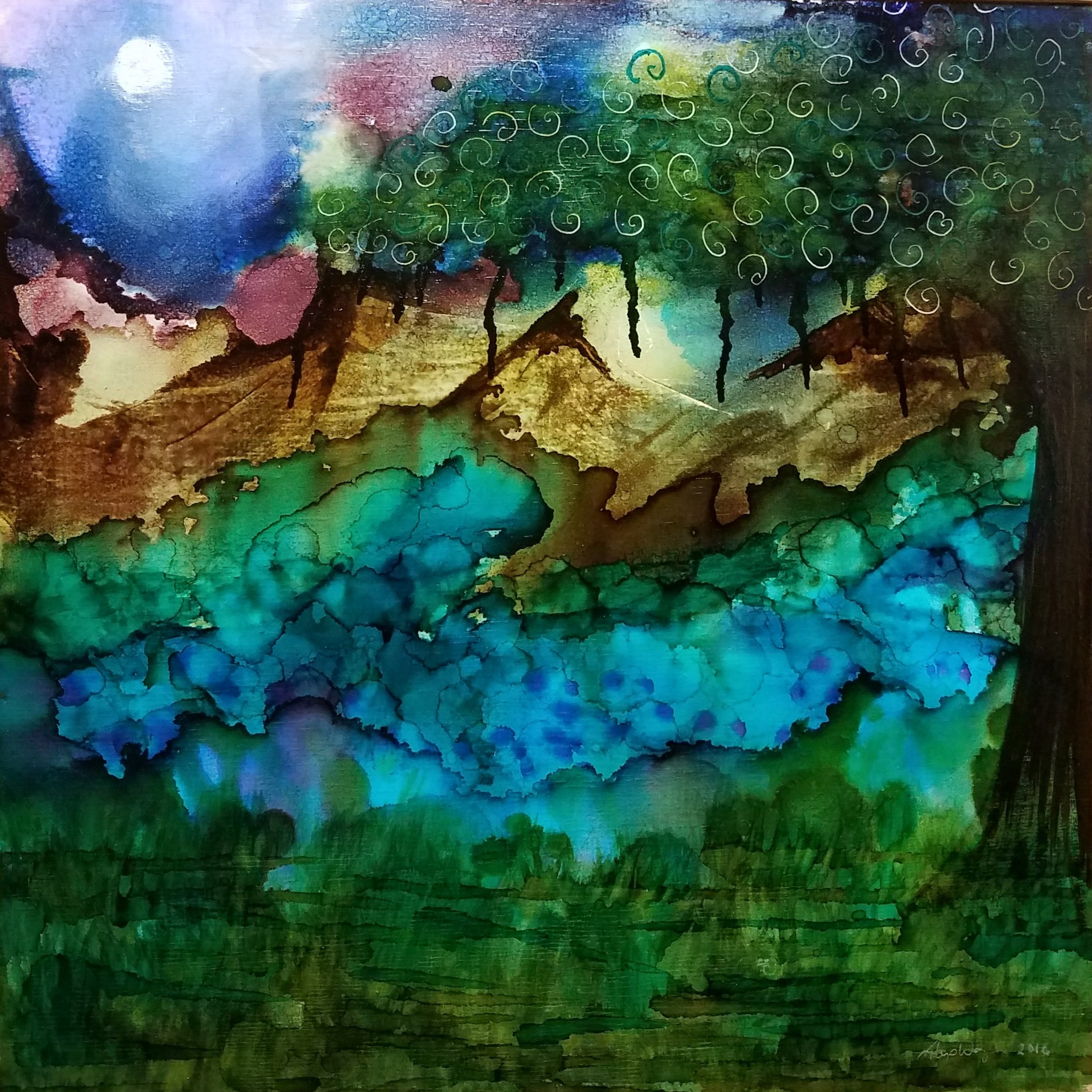 Nightscape#1  I used my new favorite medium to create 3 small pieces for our local galleries Petite Painting sale just before Christmas. This sparked an interest in Alcohol Ink class at the Oxford Arts Alliance. I began teaching adult classes there in February, teaching ink on tiles and yupo paper. Six months later and and another round of summer camp under my belt, I have started to add  jewelry ,