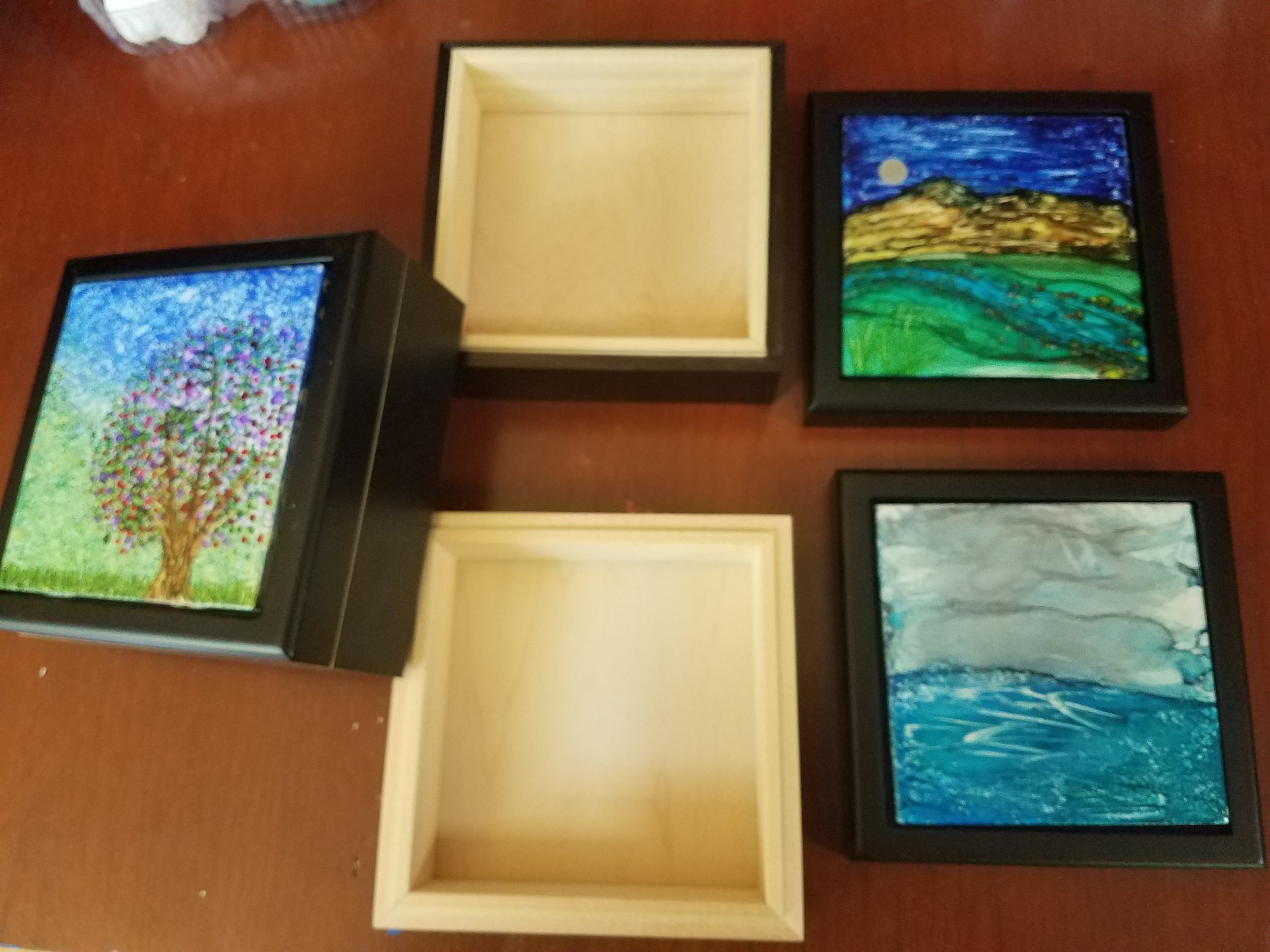 4x4 & 6x6 Alcohol Ink tiles in keepsake boxes 2
