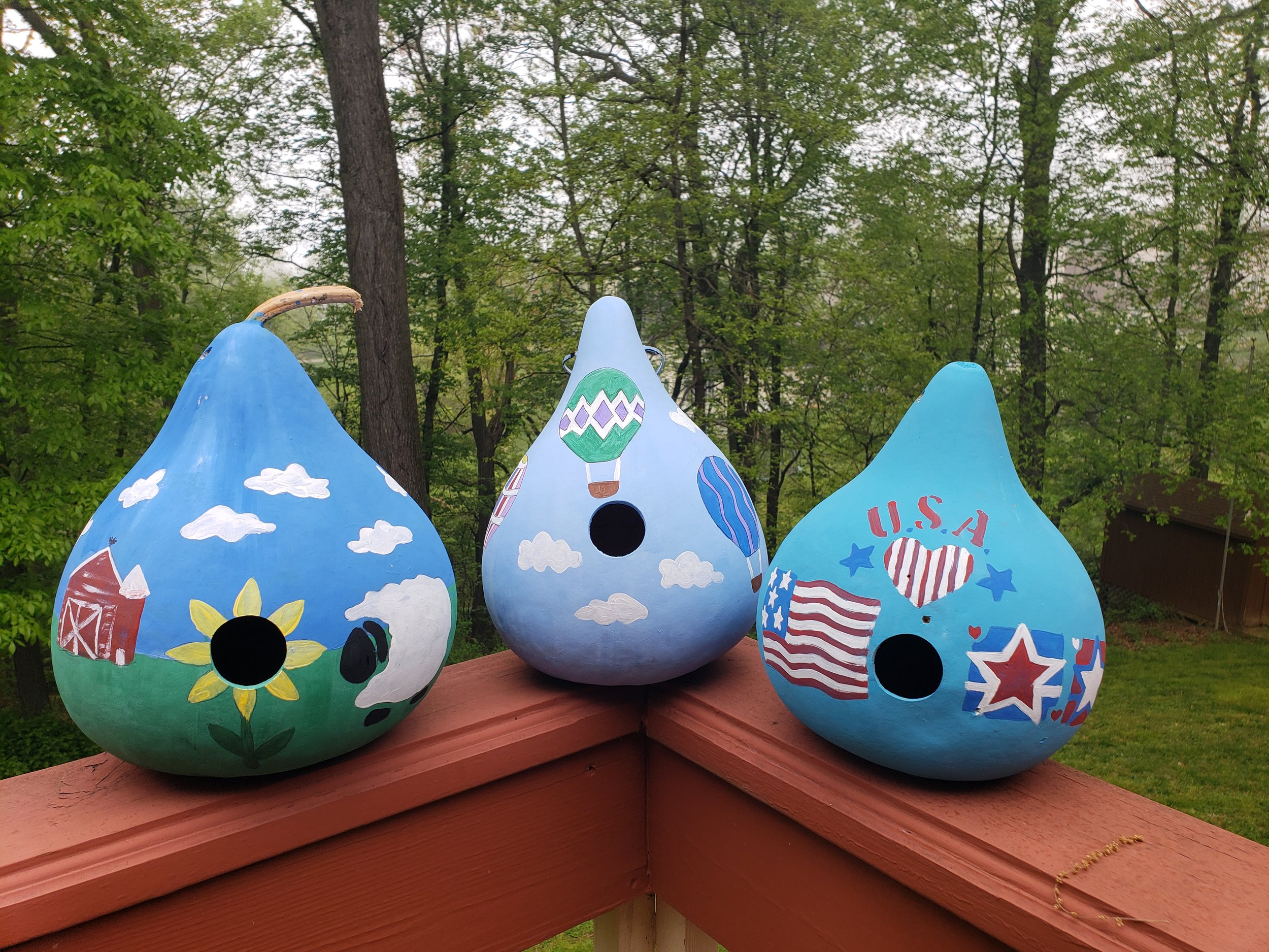 Acrylic Bird House Class is a 2 hour class for $35 - Come paint your very own Gourd Bird House!! Here are three of the stencil designs to choose from, there are many other stencil available or you can free hand any design you like. This is an all ages classes.Level: Beginner & ALL Skill Levels
