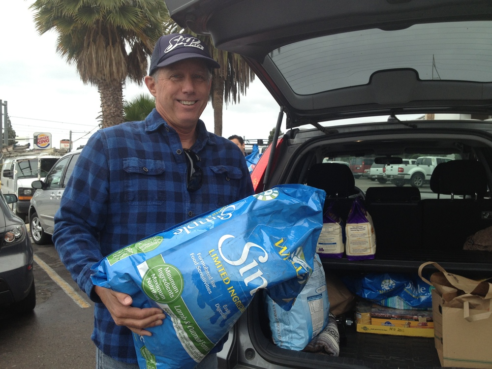 David getting donations loaded for the animals