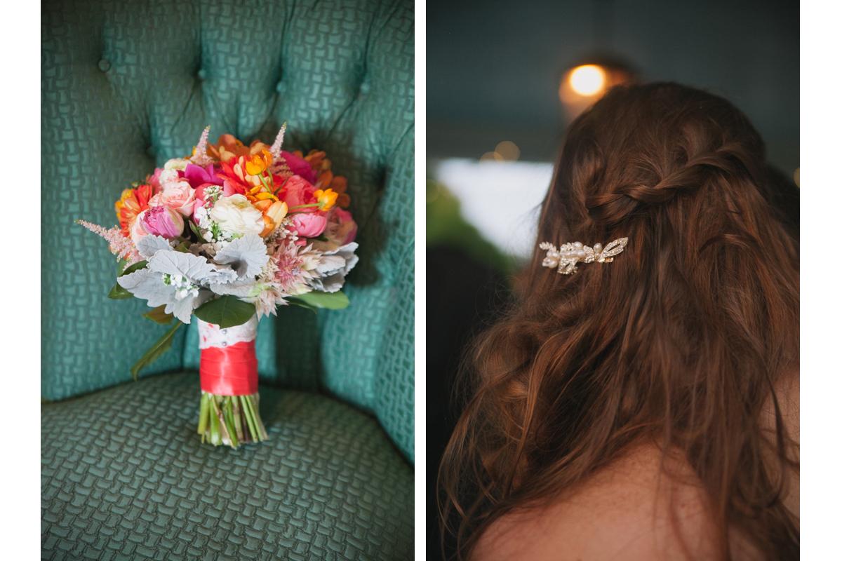 Colorful Wedding Bouquet and Bridal Hair Style | Endicott Estate Wedding - Dedham, MA.  | Kelly Burgess Photography
