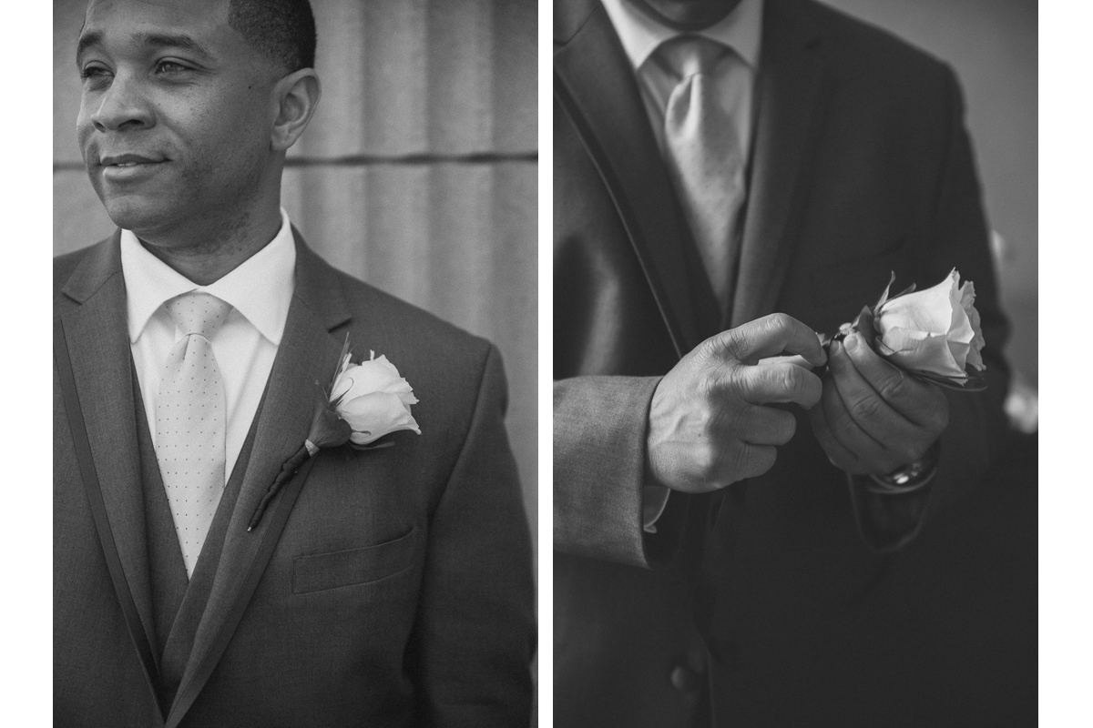 Groom and Boutonneire | Boston Harbor Hotel Wedding - Boston, MA. | Kelly Burgess Photography
