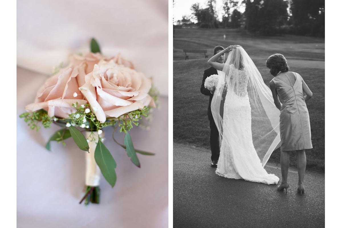Boutonniere and Veil | Ranch Golf Club Wedding - Southwick, MA. | Kelly Burgess Photography