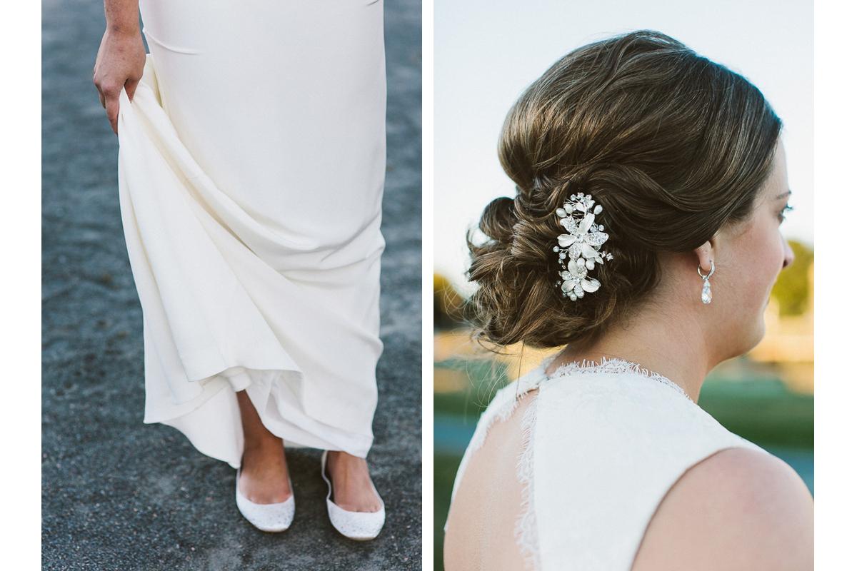 Wedding Shoes and Bridal Hair Details | Salem Waterfront Hotel Wedding - Salem, MA. | Kelly Burgess Photography