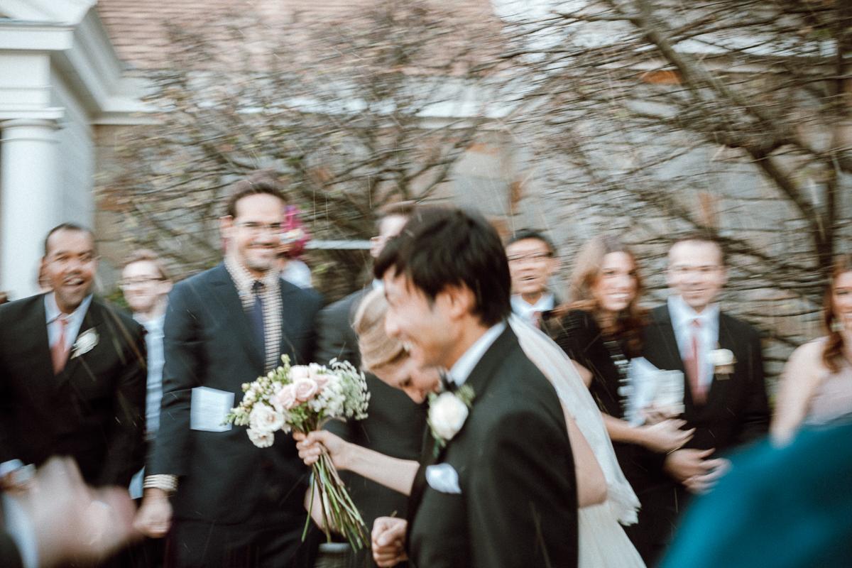 Bride and Groom Ceremony Exit | Smith Barn Wedding - Salem, MA. | Kelly Burgess Photography