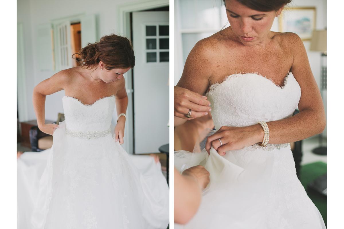 Bride Getting Into Wedding Dress | Winslow Estate Wedding - Orleans, MA. | Kelly Burgess Photography