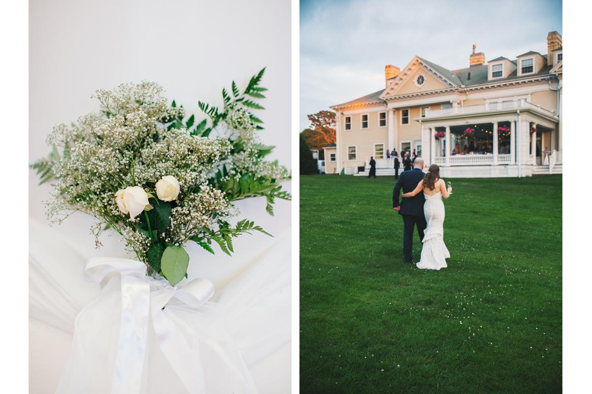 Wedding Flowers and Bride and Groom at Wedding Reception | Endicott Estate - Dedham, MA. | Kelly Burgess Photography