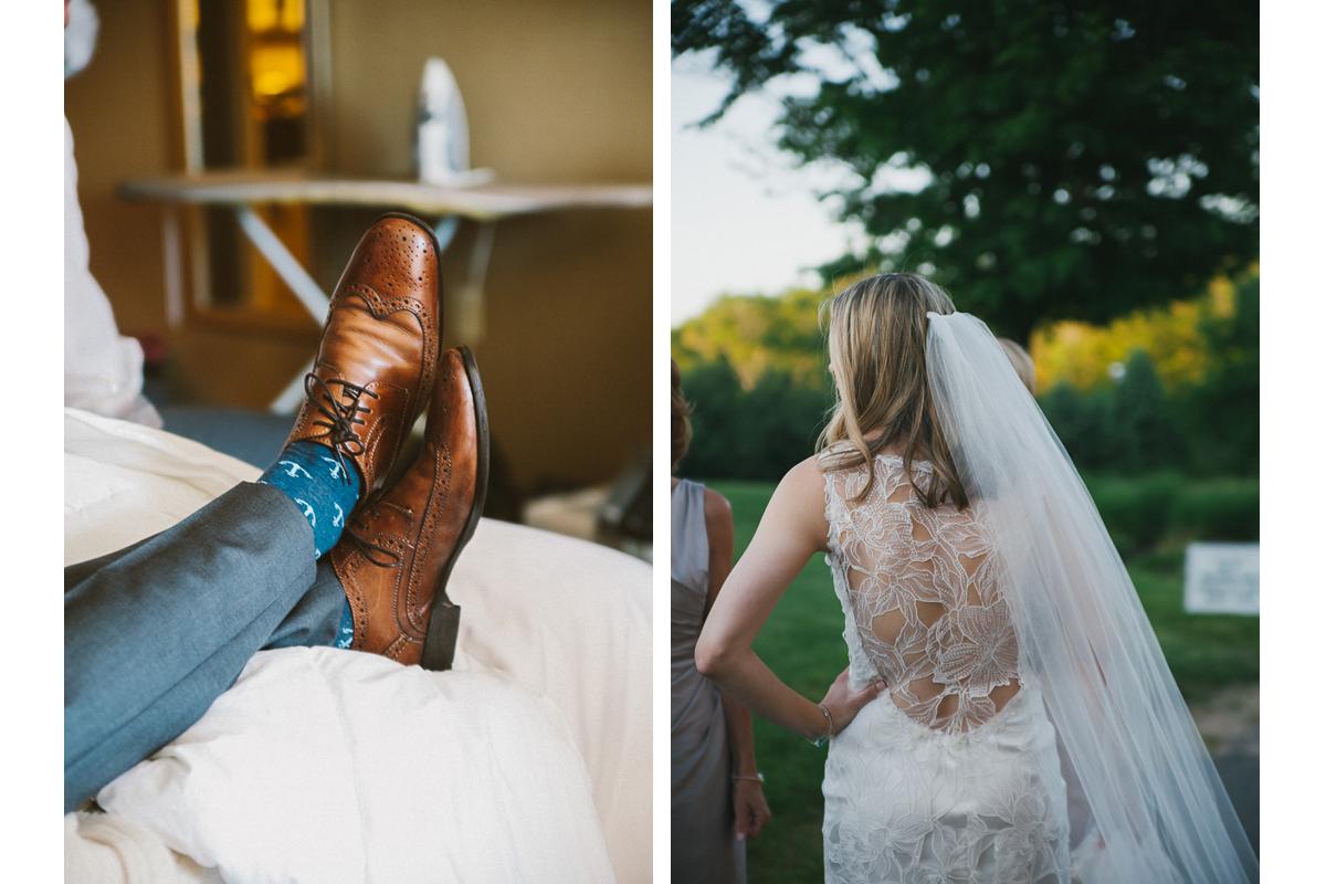 Wedding Socks and Claire Pettibone Wedding Dress | Ranch Golf Club Wedding - Southwick, MA. | Kelly Burgess Photography