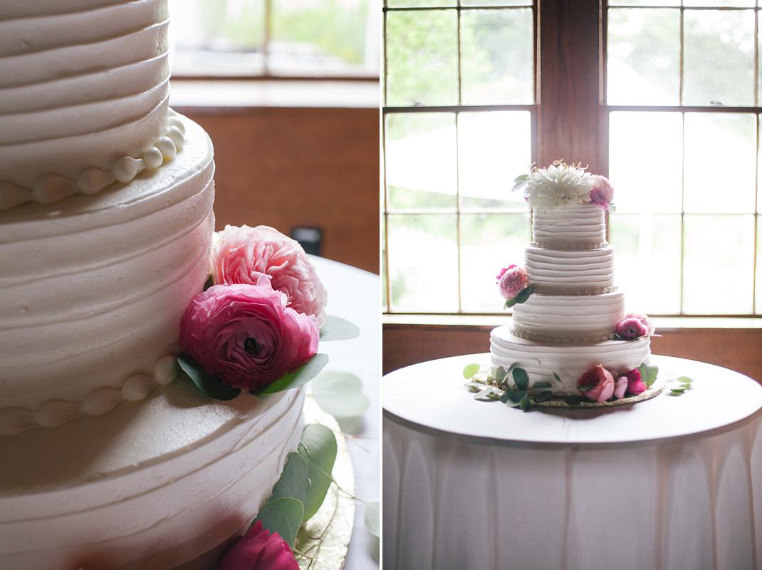 Pink Floral Wedding Cake | Codman Estate Wedding - Lincoln, MA. | Kelly Burgess Photography